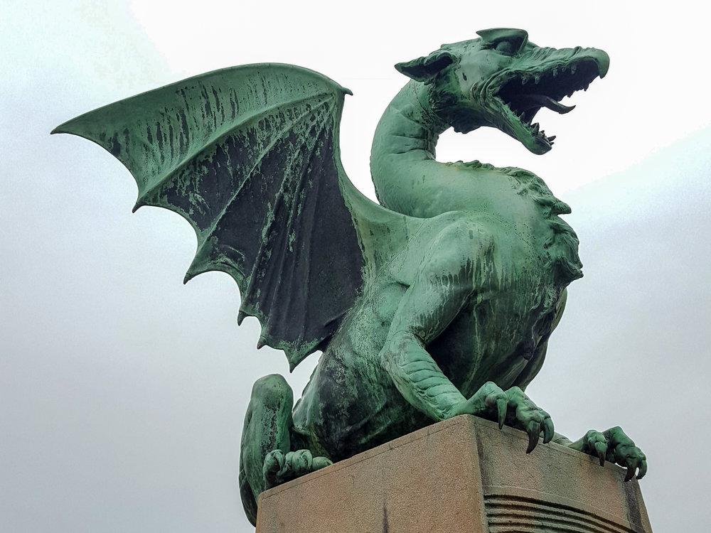 copper dragon monument in slovenia