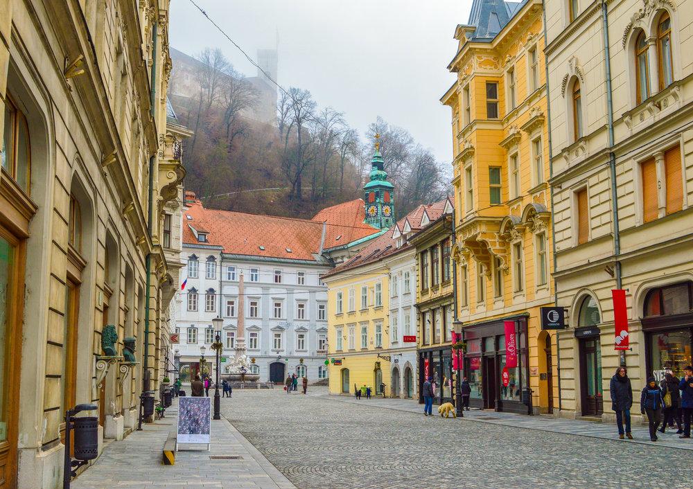 cobbled street of Ljubljana