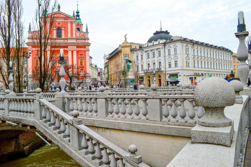 concrete triple bridge slovenia