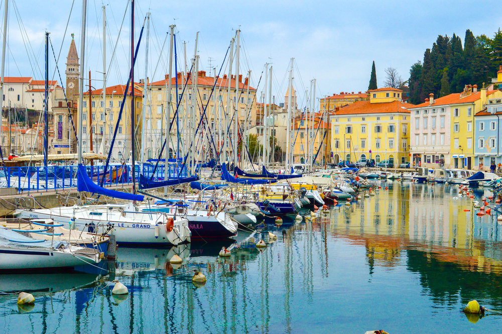 yachts in harbour in Piran, Slovenia