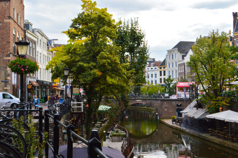 Utrecht canal surrounded by shops