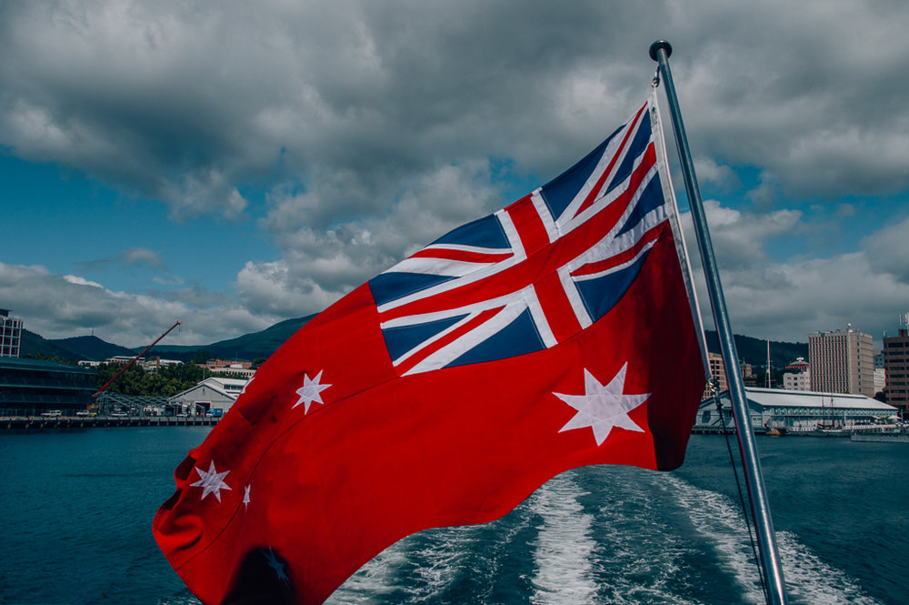 MOMA ferry from hobart with flag