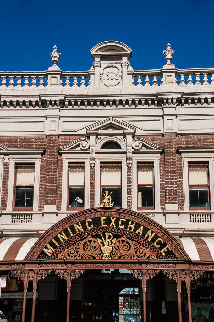 outside of gold mining exchange building