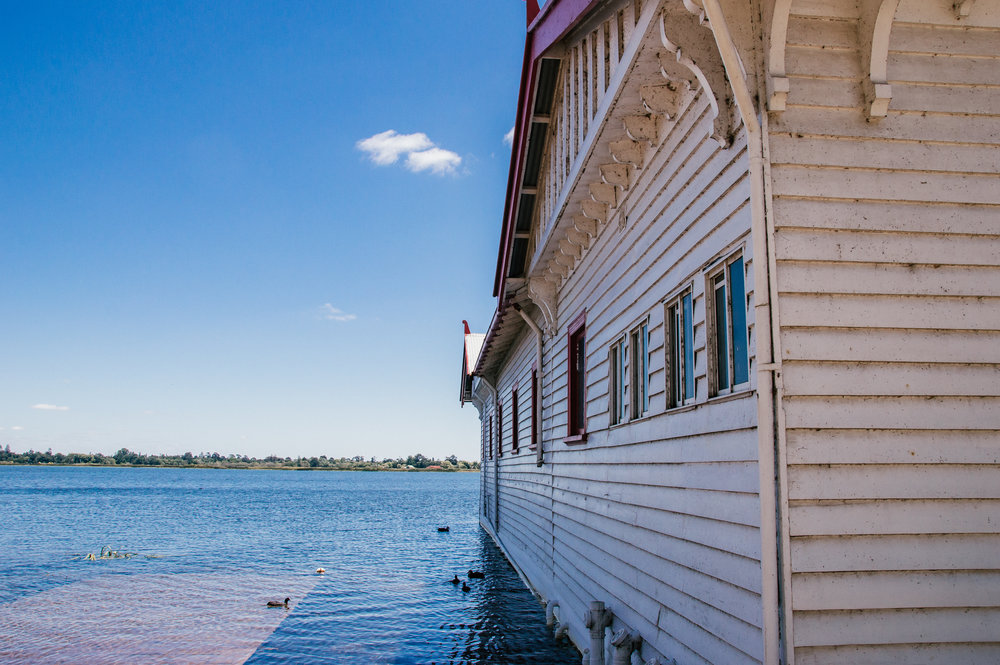 lake in ballarat with boathouse in forefront