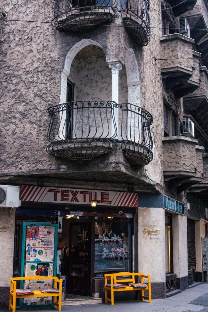 old textile shop within art nouveau building