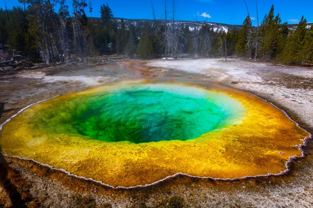 blue yellow and orange geothermal pool