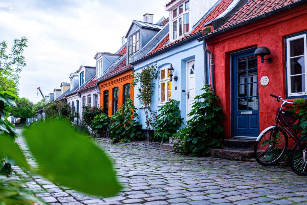colourful houses on a street in Denmark