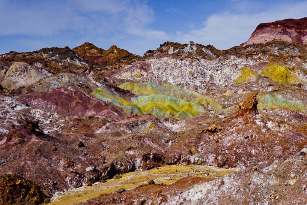 rocky rainbow coloured mountains in Iran