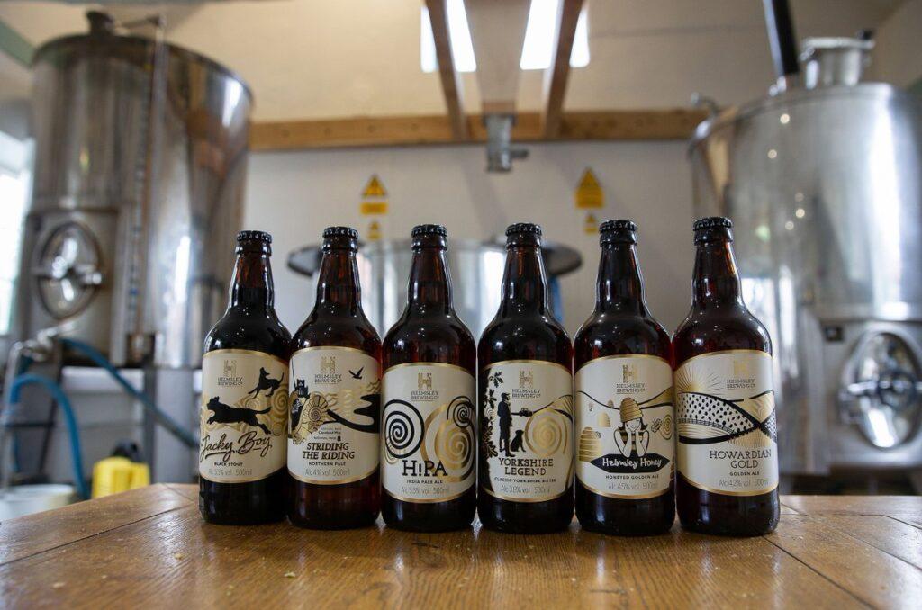 bottles of beer at Helmsley Brewery