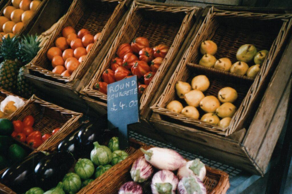 baskets of fruit at a UK market