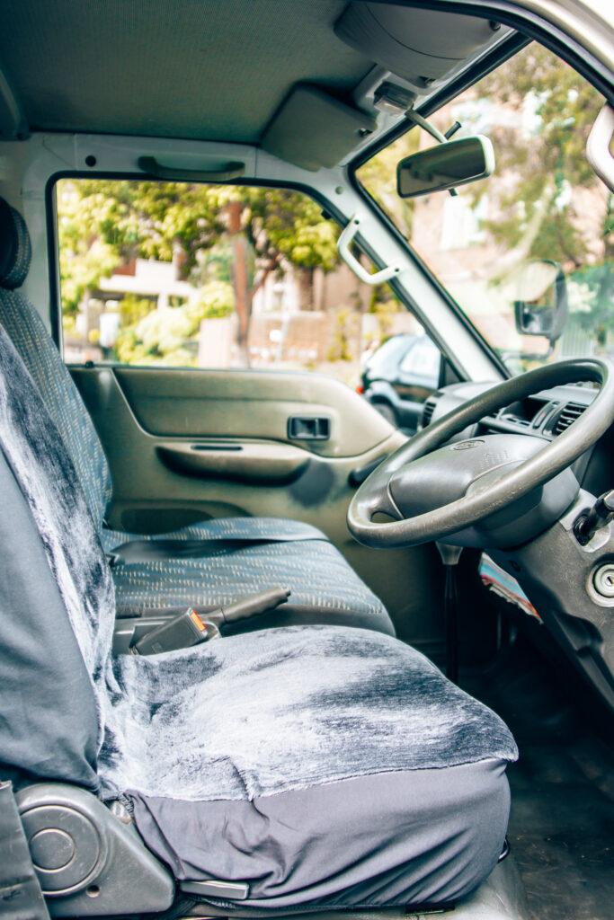 interior drivers cab of ford econovan