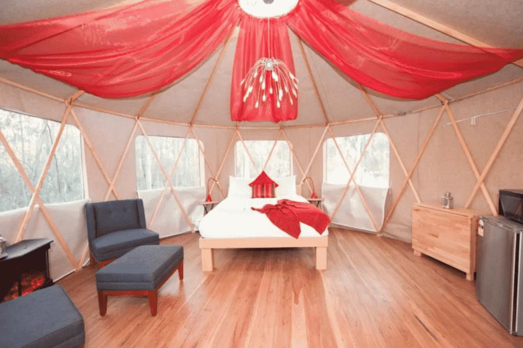 circular yurt accommodation in Echuca