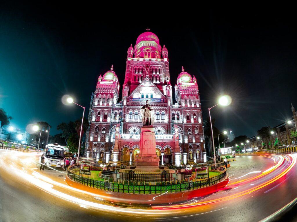temple in mumbai India lit up at night
