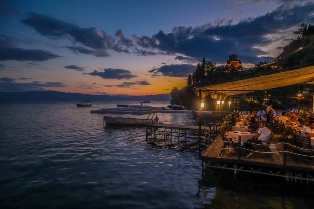 waterfront dining at sunset in Macedonia